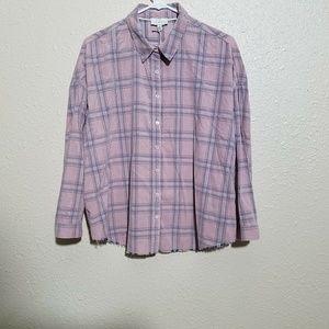 Lucky Brand Plaid Shirt L Rare Hemline Corduroyed